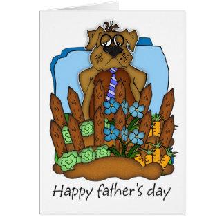 Cartão do dia dos pais - cão do pai em seu jardim