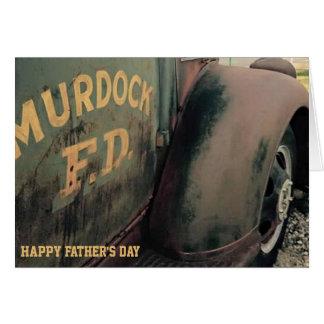 cartão do dia dos pais, carro de bombeiros antigo
