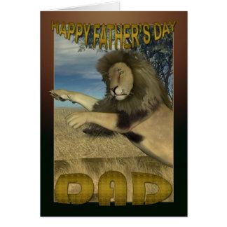 Cartão do dia dos pais com leão atacando