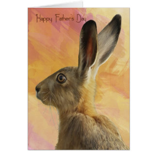 Cartão do dia dos pais com lebre selvagem