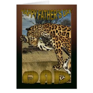 Cartão do dia dos pais com leopardo