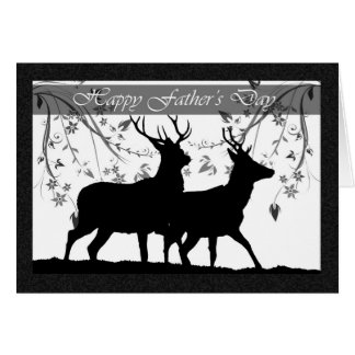 Cartão do dia dos pais, com silhueta dos cervos