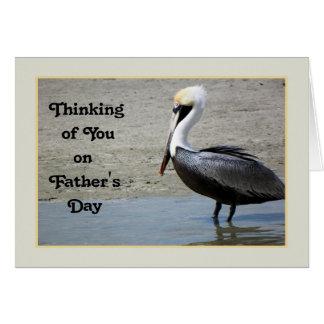 Cartão do dia dos pais com um pássaro do pelicano