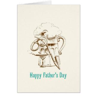 Cartão do dia dos pais da cerveja & do pretzel