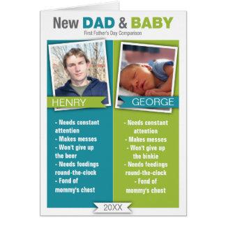 Cartão do dia dos pais da comparação do novo papai