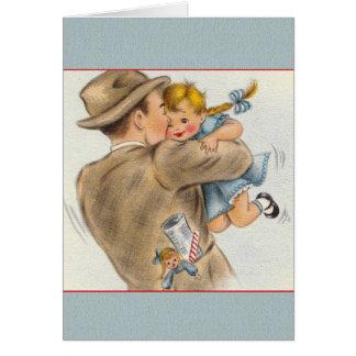 Cartão do dia dos pais da menina do pai do vintage