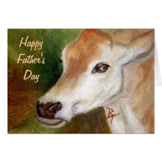 Cartão do dia dos pais da vaca do jérsei
