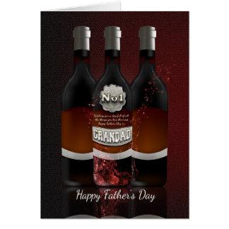 Cartão do dia dos pais das garrafas de vinho do Gr