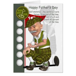 Cartão do dia dos pais do golfe com jogador de gol