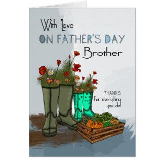 Cartão do dia dos pais do irmão com botas de chuva
