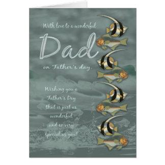 Cartão do dia dos pais do pai - com peixes tropica