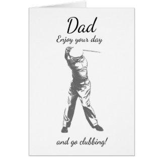 Cartão do dia dos pais do pai do golfe