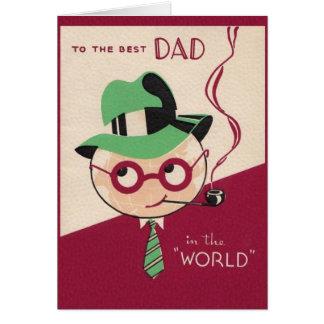 Cartão do dia dos pais do pai do vintage o melhor