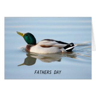 Cartão do dia dos pais do pato da natação