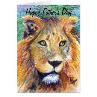 Cartão do dia dos pais do retrato do leão