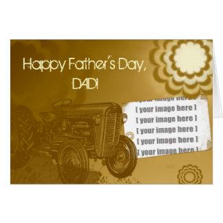 Cartão do dia dos pais do trator Adicione sua fot