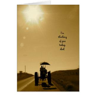 Cartão do dia dos pais do trator: Silhueta do