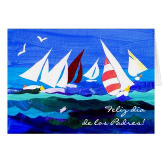Cartão do dia dos pais dos barcos de navigação -