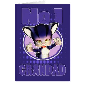 Cartão do dia dos pais - gato bonito - Grandad No1