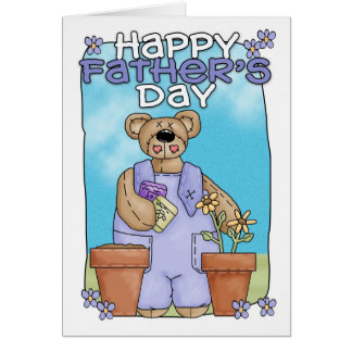 Cartão do dia dos pais - jardinagem do urso de urs