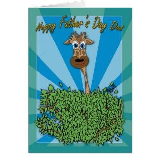 Cartão do dia dos pais, pai, girafa que pica o thr