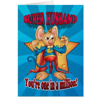 Cartão do dia dos pais - rato super do marido - um