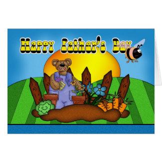 Cartão do dia dos pais - urso de jardinagem