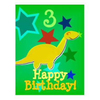 Cartão do dinossauro da estrela do feliz