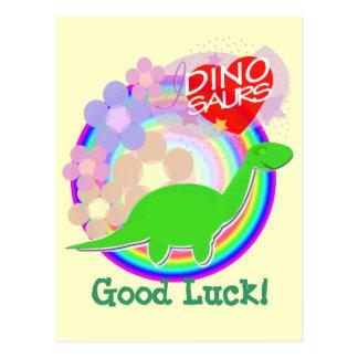 Cartão do dinossauro da flor da boa sorte