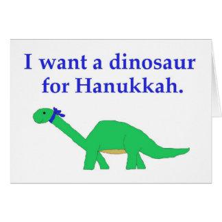 Cartão do dinossauro de Hanukkah