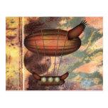 Cartão do dirigível do bronze do vintage de Steamp Cartão Postal