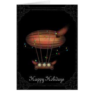 Cartão do dirigível do Natal de Steampunk