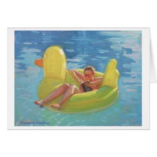 cartão do divertimento com o ducky de borracha