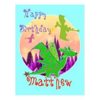 Cartão do dragão do feliz aniversario com nome