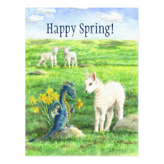 Cartão do dragão do primavera do Daffodil Cartão Postal