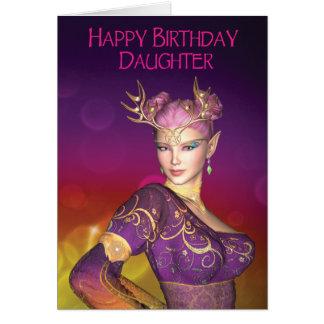 Cartão do duende da filha do feliz aniversario