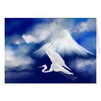 Cartão do Egret de Monte Fuji & de vôo