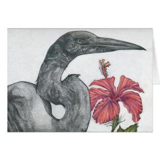 Cartão do Egret & do hibiscus