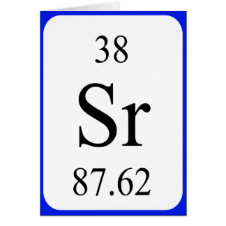 Cartão do elemento 38 - branco do estrôncio