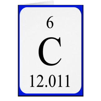 Cartão do elemento 6 - branco do carbono