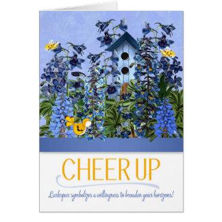 Cartão Do elogio jardim azul de Larkspur acima com
