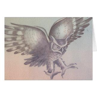 """Cartão do esboço da aguarela da """"coruja"""""""