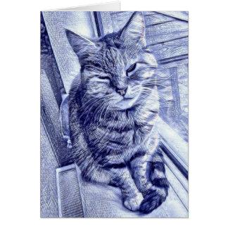 Cartão do esboço da tinta do gato satisfeito