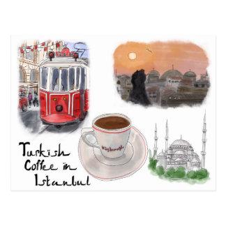 Cartão do esboço do viagem: Café turco em Istambul