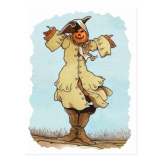Cartão do espantalho da abóbora cartões postais