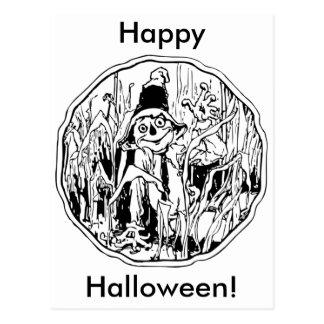 Cartão do espantalho do Dia das Bruxas Cartão Postal