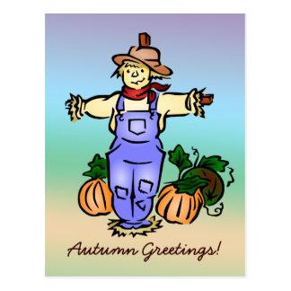 Cartão do espantalho dos cumprimentos do outono cartoes postais