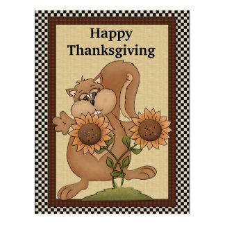 Cartão do esquilo da acção de graças