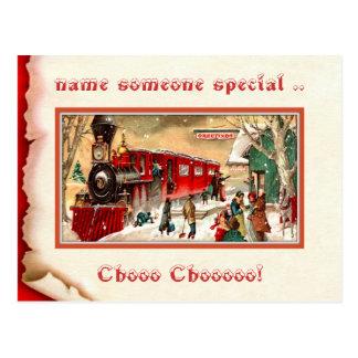 Cartão do estação de caminhos-de-ferro do natal