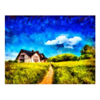 Cartão do estilo da pintura de óleo da casa do